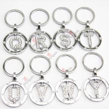 Porte-clés en argent sterling en argent, lettre rotative, porte-clés en métal strass
