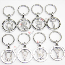 Crystal Round Silver Letter Chaveiros, Rotating Letter Rhinestone Metal Keychain