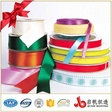 Custom colorful cotton Promotional Christmas Gift Celebrate Wrapping Polyester Decoration satin Ribbon