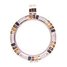 High Quality Gold Plated Living Locket with Colorful Crytal