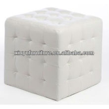 White Faux Leather Ottoman With Buttons XY0310