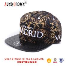 Black leather brim custom fabric 5 panel cap hat