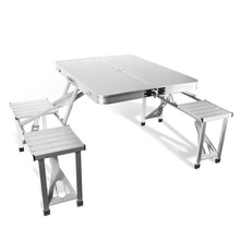 Wholesale mesa de piquenique ao ar livre de alumínio e cadeira com furo do guarda-chuva