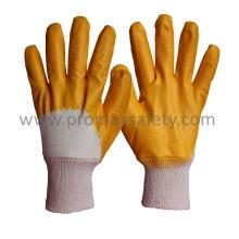 Interlock Cotton Liner Gelber Nitrilbeschichteter Handschuh mit offener Rückseite