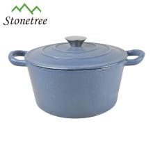 Round Blue Enamel Cast Iron Soap Dish/Casserole/Cooking Pots/Cocottes