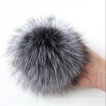 Large Real Fox Fur Pom Pom Silver Fox Pompom
