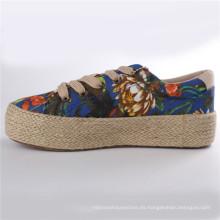 Zapatos de lona de los zapatos de las mujeres con la suela de goma Snc-28007 de la cuerda del cáñamo