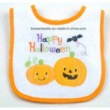 Cartoon Pumpkin Halloween Embroidered Applique Velcro White Cotton Custom Baby Bib