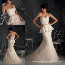 WD2840 Champagne strapless bridal train dresses beaded band mermaid sweep train sash two pieces lace wedding dress