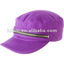 fashion purple military cap/flat hat cap with zipper