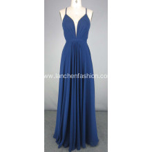 Long Navy Chiffon Dress Prom Evening Dress