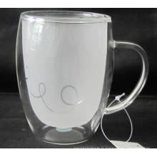 Coupe en verre double mur avec oreille (INNER LAYER FROSTING),