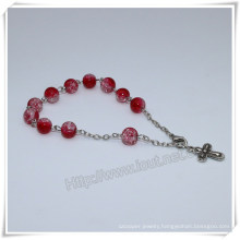 New Red Glass Beads Catholic Rosary Bracelet on Chain (IO-CB180)