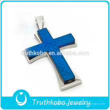 Colgante cruzado de Jesús del collar de cadena de oro del Nilo azul brillante al por mayor precio barato al por mayor