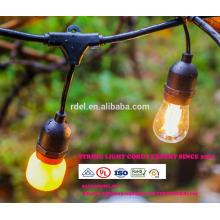 Guirlandes LED extérieures commerciales de 48-Ft vintage avec 15 douilles suspendues et 15 ampoules S14 claires, mesure de 14