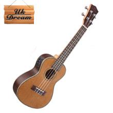 Flower wood edge + fish bone ukulele