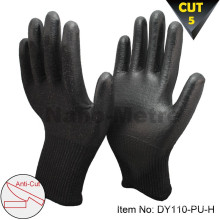 NMSAFETY 13 gauge black pu working cut gloves resistant level 5