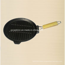 Square Cast Iron Skillet with Wooden Handle