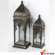 Wholesale S/2 Vintage Garden Hanging Glass Metal Lantern