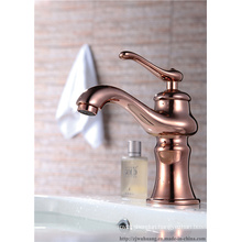 Copper Plated Lifting Handle Basin Faucet