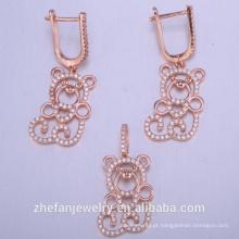 conjunto de jóias animal bonito atacado fabricação chinesa 925 conjuntos de casamento de prata esterlina