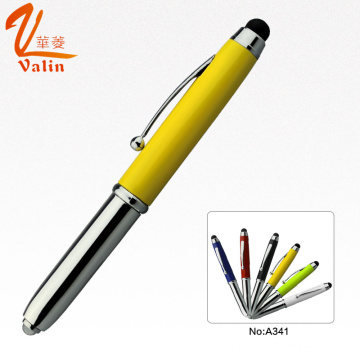 Popular Design Metal Ball Pen with LED Light and Stylus