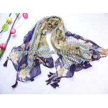 Fashion nice shawl fringe scarf with beats for lady