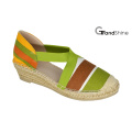 Women′s Printed Canvas Espadrille Wedge Shoes