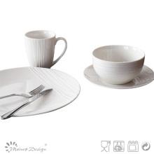 2016 New Design 16PCS Fashion Embossed Porcelain Dinner Set