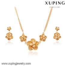 63952-Xuping nouveau 18k fleur modèle de mode collier et boucles d'oreilles ensembles de bijoux