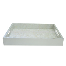 white paint freshwater shell tray with shell mosaic