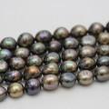 12-13mm Hochwertige schwarze barocke Süßwasserperlen-Halskette (E190036)