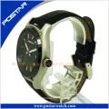 Reloj de cuero de encargo de los hombres del deporte de la marca del logotipo del OEM del fabricante con alta calidad