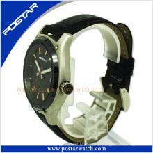 Relógio de couro dos homens feitos sob encomenda do esporte do tipo do OEM do logotipo do fabricante com de alta qualidade