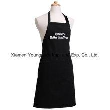Promocional personalizado impreso negro algodón de lona cocina delantal para hombres