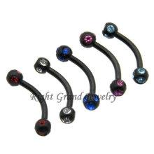 Черным PVD-покрытием анодированный Кристалл Пирсинг брови ювелирные изделия