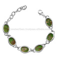 Green Copper Turquoise Gemstone 925 Sterling Silver Bracelet
