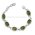 Bracelete de prata esterlina 925 Sterling Silver Green Copper Turquoise
