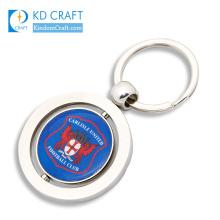 Supply custom zinc alloy printing epoxy branded promotional sports club team souvenir metal spinning keychain