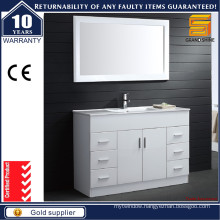 Modern Floor Mounted MDF White Bathroom Vanity for Hotel