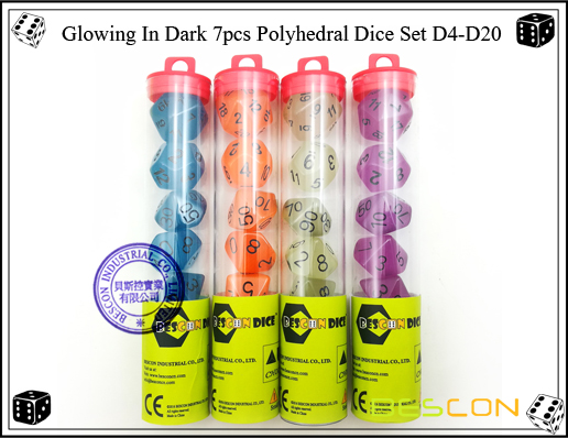 Glowing In Dark 7pcs Polyhedral Dice Set D4-D20-5