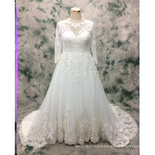 Princess Plus Size Long Sleeve Lace Wedding Gown for Bride