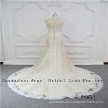 Ärmellos mit perfektem Spitzen Brautkleid