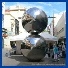 Hochglanzpolierte Edelstahlkugel Skulptur