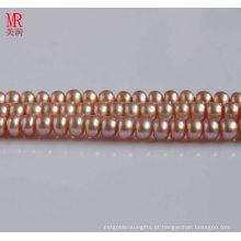 8-9mm Pink Fresh Water Pearl Strand, Round Button (ES123)