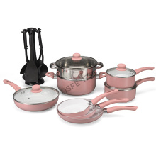 Popular Ceramic Coating Aluminium Casserole Pink Color