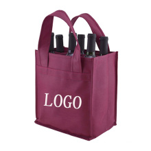 Wholesale customized Colors foldable Eco reusable gift tote bags non-woven wine bottle bag