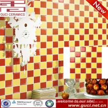 suministro de porcelana rojo y amarillo baño mosaico decorativo aspecto baldosas de cerámica