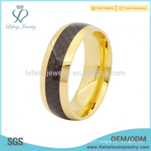 Simple plated gold with carbon fiber inlay titanium ring jewelry