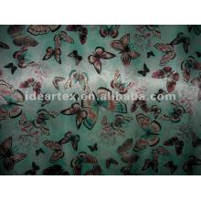 Satén de seda tela falsa mariposa impresas para el vestido de la señora